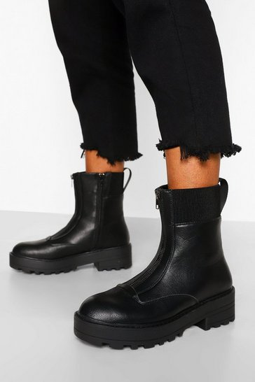 Black Zip Front Hiker Boot