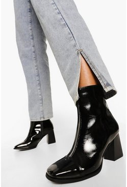 Black Block Heel Zip Front Square Toe Shoe Boot