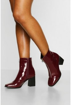 Burgundy röd Block Heel Zip Front Square Toe Shoe Boot