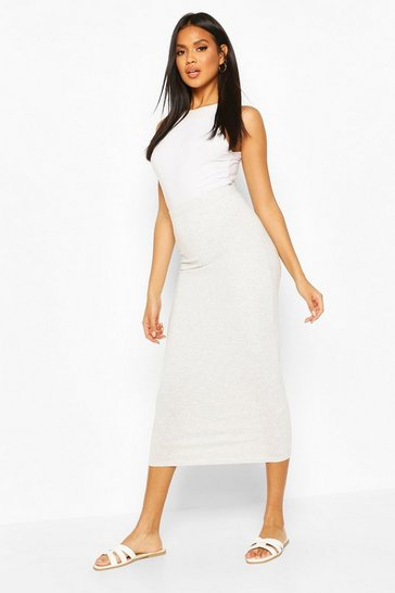 Grey marl Core Basic Jersey Midaxi Skirt