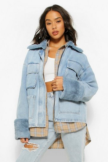 Blue Denim Fur Collar Pocket Denim Jacket