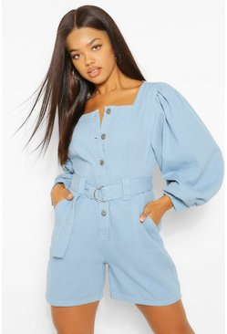 Mid blue blue Denim Belted Playsuit