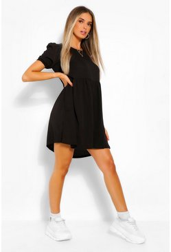 Black Woven Puff Sleeve Smock Dress