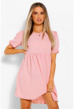 Dusty rose Woven Puff Sleeve Smock Dress