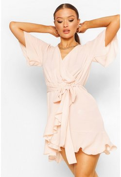 Blush pink Woven Flute Sleeve Belted Tea Dress