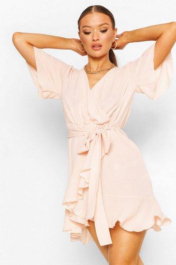 Blush pink Woven Flute Sleeve Belted Tea Dress