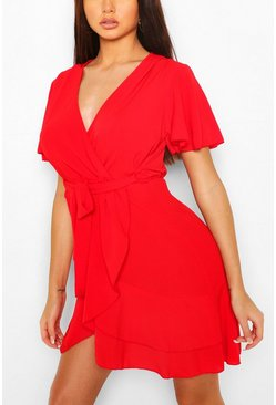 Red Woven Flute Sleeve Belted Tea Dress