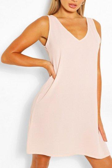 Blush pink Woven V Neck Sleeveless Shift Dress
