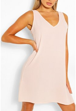 Blush pink Woven V Neck Sleeveless Shift Dress