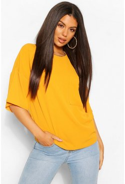 Mustard yellow Woven Pocket Detail T Shirt