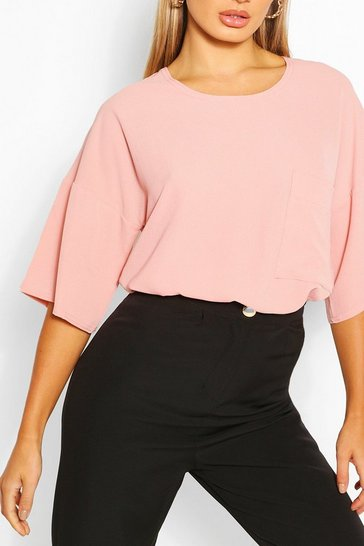 Rose pink Pink Woven Pocket Detail T Shirt