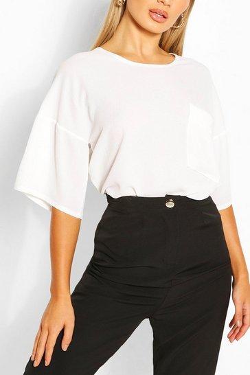 White Woven Pocket Detail T Shirt