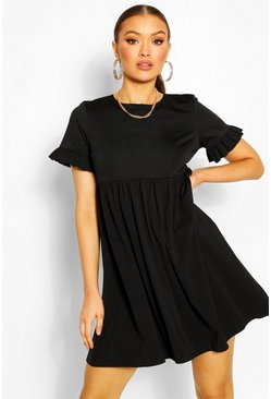 Black Crepe Ruffle Sleeve Smock Dress