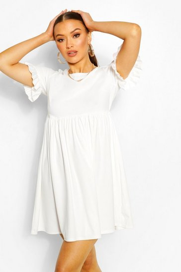 White Crepe Ruffle Sleeve Smock Dress