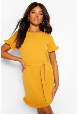 Mustard yellow Crepe Ruffle Sleeve Belted Shift Dress