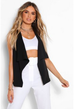 Black Sleeveless Waterfall Duster