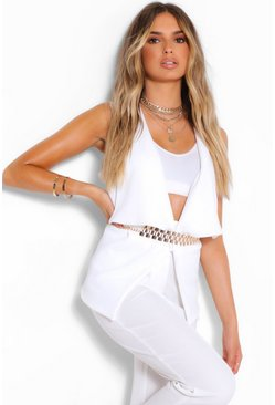 White Sleeveless Waterfall Duster