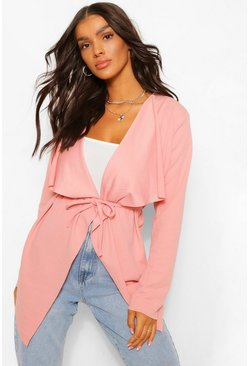 Blush pink Tie Detail Waterfall Duster