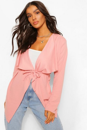 Blush Tie Detail Waterfall Duster