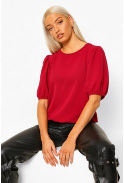 Berry red Geweven Blouse Met Pofmouwen