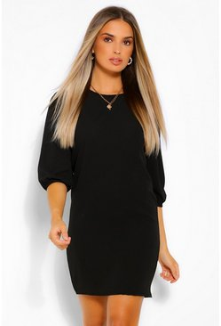 Black Woven Puff Sleeve Shift Dress