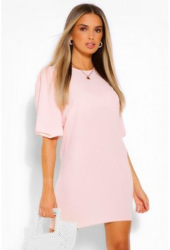 Blush pink Woven Puff Sleeve Shift Dress