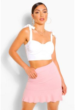 Blush Tailored Drop Hem Mini Skirt