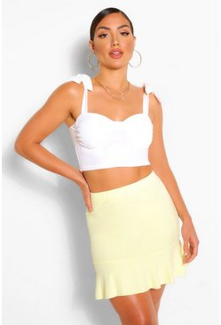 Yellow Tailored Drop Hem Mini Skirt