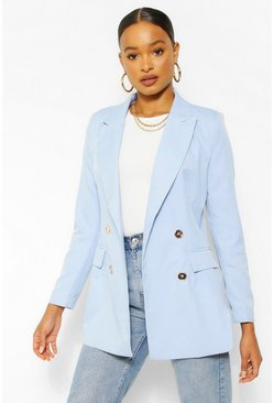 Pale blue blue Gold Button Fitted Blazer