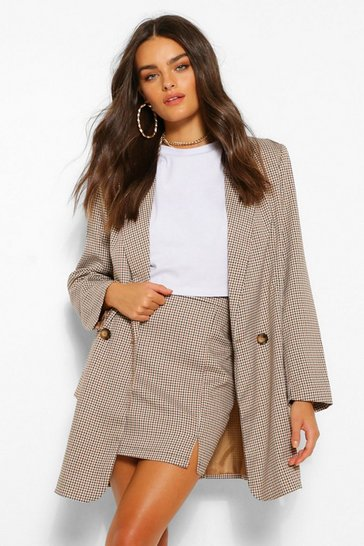 Brown Tailored Mini Check Button Blazer