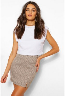 Brown Tailored Mini Check Split Skirt