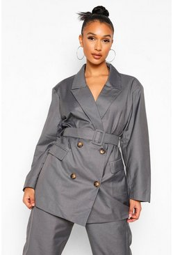 Charcoal grey Longline Self Belted Blazer