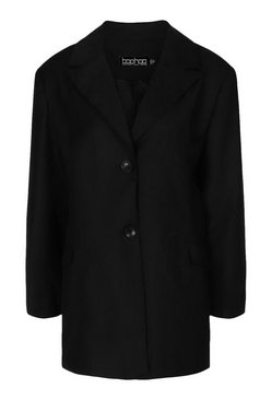 Black Boxy Oversized Dad Blazer