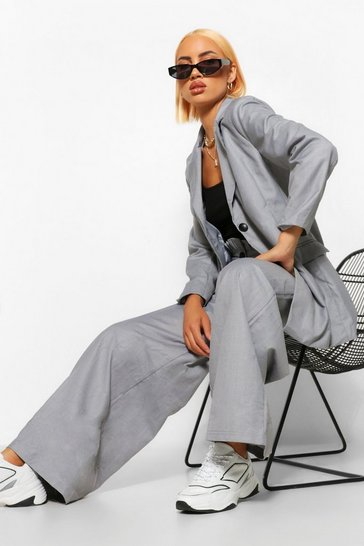 Grey Oversized Wide Leg Paperbag Trousers