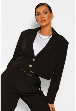 Black Crop Boxy Tailored Blazer