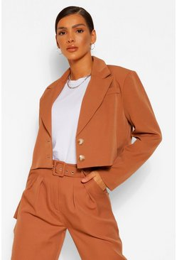 Camel beige Crop Boxy Tailored Blazer