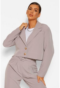 Grey Crop Boxy Tailored Blazer