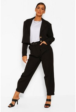 Black Self Belt Carrot Leg Balloon Trouser