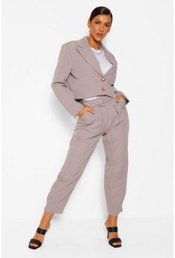 Crop Boxy Blazer & Belted Trouser Suit Set