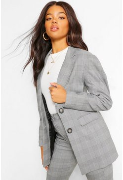 Black Check Puff Sleeve Pocket Blazer