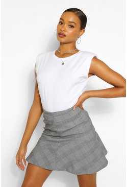 Black Check Ruffle Hem Mini Skirt