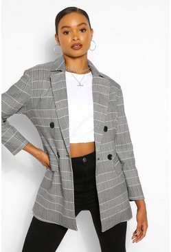 Black Oversized Check Double Breast Blazer