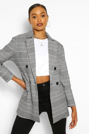 Black Checked Double Breasted Blazer