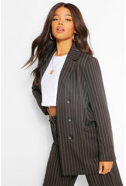 Black Pinstripe Button Detail Blazer