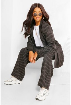 Black Pinstripe Tie Waist Relaxed Trouser