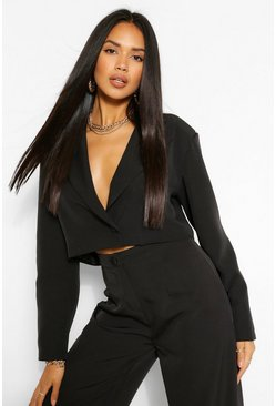 Black The Power Shoulder Blazer
