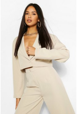 Crop Blazer & Wide Leg Trouser Suit Set