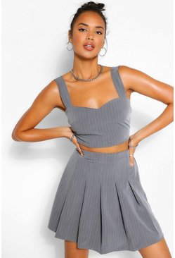 Grey Pinstripe Crop Top