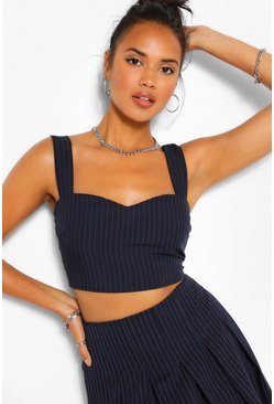 Navy Pinstripe Crop Top