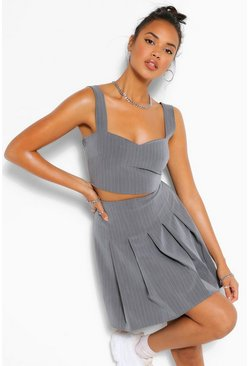 Grey Pinstripe Pleated Mini Skirt